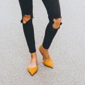 Zara Shoes Pointed Toe Mustard Yellow Slingback Flats